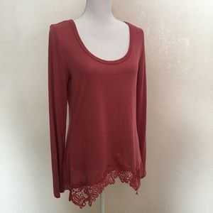 Self Esteem Tops - Self Esteem woman's top lace asymmetric hem XL